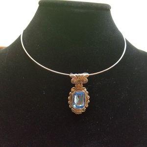 Premier Designs Silver Wire Necklace Blue Pendant